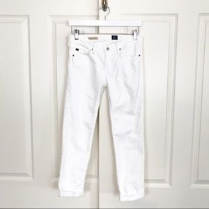 AG Stevie Roll-Up Slim Straight Jeans White